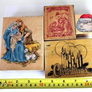 Lot of 6 Vintage Christmas Wooden Rubber Stamps